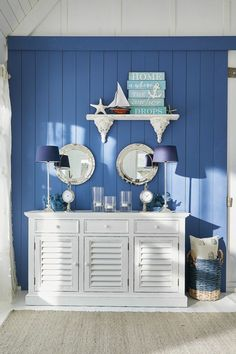 Chest of drawers Mimizan - LOBERON: Coming Home - Elegant slat doors with a maritime look. High quality wooden chest of drawers suitable for furnishi - Wooden Chest, Beach House Decor, Wall Wallpaper, Home Accents, Home Furnishings, Storage Spaces, Home Accessories, Sweet Home, Room Decor
