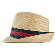 8e8aecb508c Gucci Woven Straw Fedora ( 210) ❤ liked on Polyvore featuring accessories