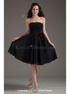 Chiffon Strapless A-Line Black Knee Length Sash Cocktail Dress