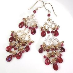 Wedding Earrings Chandelier Ruby Moonstone by DoolittleJewelry, $239.00