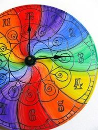 Swirly rainbow clock