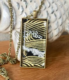 Japanese Wave Large Pendant Necklace  // Great Wave Pendant // Asian Charm Necklace // Large Key Chain// Necklace // Gifts for Her by PolishTheStone on Etsy https://www.etsy.com/listing/496611225/japanese-wave-large-pendant-necklace