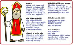 MIKULÁŠSKÉ BÁSNIČKY, BÁSNIČKY O MIKULÁŠOVI Activities For Kids, Crafts For Kids, Teaching Posts, Angel And Devil, Saint Nicholas, Christmas Printables, Poems, Preschool, Christmas Decorations