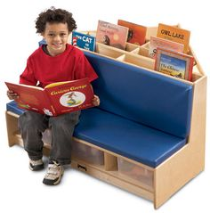 The Corner Literacy Nook is an easy way to add a compact literacy center to your classroom or children's area. This solidly constructed book browser holds lots of books and makes it easy for little on Cozy Reading Corners, Reading Nook, Built In Sofa, Blue Cushions, Waiting Rooms, Waiting Area, Craft Corner, Corner Nook, Corner Bench