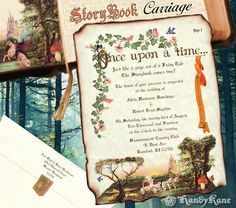 qty 50 Storybook Scroll Wedding Invitations Carriage FairyTale Invites in Invitations & Stationery   eBay
