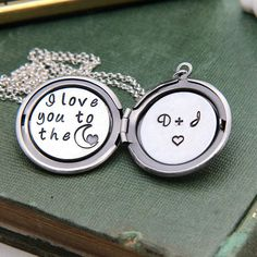 I love to the moon Locket Personalized Locket by JewelleryJKW