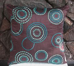 Blue circle pillow for Amber's living room
