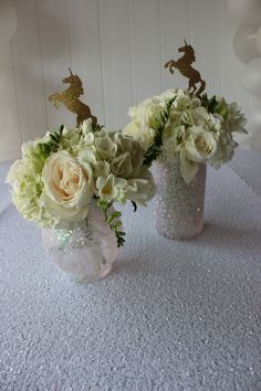 Diy unicorn party centerpieces flowers gold pink glitter