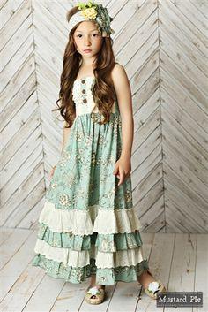 Mustard Pie Spring 2016 Shangri La Blue Jade Maxi Dress – Little Luna Blue Girls Boutique Dresses, Little Girl Dresses, Girls Dresses, Flower Girl Dresses, Little Girl Fashion, Kids Fashion, Baptism Dress, Spring Dresses, Ladies Dress Design
