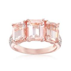 Ross-Simons - 4.85 ct. t.w. Morganite and .20 ct. t.w. White Topaz Ring in 18kt Rose Gold Over Sterling - #820782  $416.50
