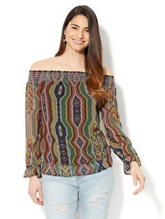 Shop Smocked Off-The-Shoulder Blouse - Circular Print. Find your perfect size online at the best price at New York & Company.