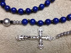 Police Rosary Blue Howlite Beads Silver Black Accents by kastex