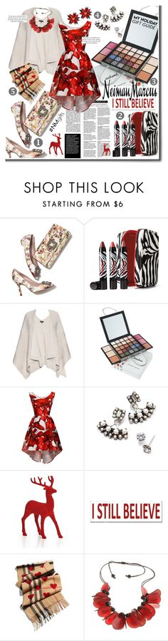 """""""The Holiday Wish List With Neiman Marcus: Contest Entry"""" by cherry1987 ❤ liked on Polyvore featuring VILA, Manolo Blahnik, Sisley Paris, rag & bone, Neiman Marcus, Chi Chi, DANNIJO, Sixtrees and Burberry"""