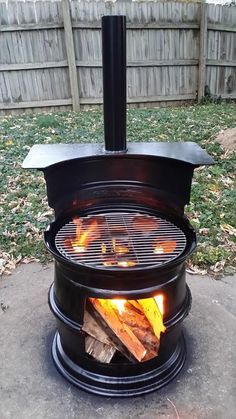 Reduce, reuse, recycle. Fire pits and grills made from old rims---vma.