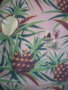 vintage pineapple print curtain fabric