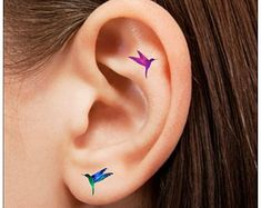 Temporary Tattoo 16 Hummingbird  Ear Tattoos Finger Tattoos