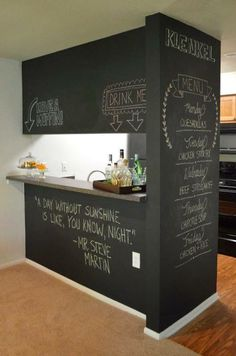 black wall as a chalkboard