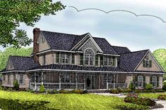 Country Style House Plan - 4 Beds 2.5 Baths 2599 Sq/Ft Plan #11-215 Exterior - Front Elevation - Houseplans.com