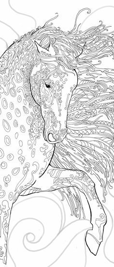 Coloring pages Printable Adult Coloring book Horse Clip Art Hand Drawn Original…
