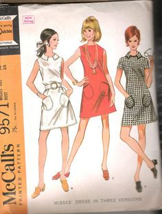 """Vintage One PC Dress 60s Sewing Pattern McCall 9571 Size 14 Bust 36 Hip 38"""" Cut 
