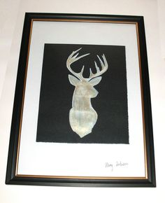 Deer Painting Watercolour and Acrylic Original Craft with Frame A4 http://stores.ebay.co.uk/magzeben/