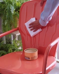 DIY - The same carnauba paste wax that maintains a car's finish does a dynamite job on painted metal furniture. Once a season, apply an even coat with a damp terry cloth towel to furnishings; let dry, then lightly buff with a soft cotton rag. The wax will repel water, preventing rust, and also restore luster to dull paint via Martha Stewart.