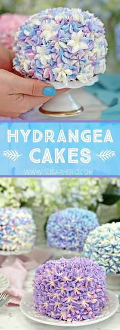 Hydrangea Cakes gorgeous mini cakes that look like hydrangeas Perfect for spring parties or showers From Fancy Cakes, Cute Cakes, Pretty Cakes, Mini Cakes, Yummy Cakes, Beautiful Cakes, Amazing Cakes, Cupcake Cakes, Cake Cookies