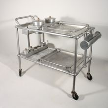 """Vintage 1940's Hand-Forged """"Falling Leaves"""" Serving Cart, Signed Everlast, by Russel & Mary Wright"""