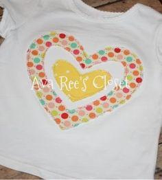 Double shabby heart appliqued shirt