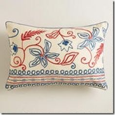 x Aari Embroidered Lumbar Pillow: World Market Lumbar Throw Pillow, Throw Cushions, Decorative Throw Pillows, Bed Pillows, Americana Living Rooms, Americana Home Decor, Tambour Beading, Love Chair, Things To Buy
