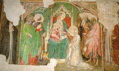 Spinello Aretino - Matrimonio mistico di Santa Caterina d'Alessandria tra santi - affresco staccato  - 1390 - Cappella Cialli-Seringi della basilica di Santa Trinita a Firenze