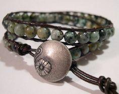 Leather Wrap Bracelet// Beaded Wrap Bracelet// by DesignsbyNoa