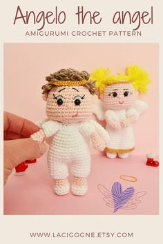 Angel doll crochet pattern, Amigurumi angel doll tutorial, tiny Angel will be a very cute gift for Christmas, by LaCigogne #lacigognefr #crochetpattern #amigurumipattern #crochetdoll #amigurumidoll Diy Crochet Doll, Crochet Doll Pattern, Crochet Toys, Crochet Patterns, Christmas Angels, Diy Christmas Gifts, Christmas Decorations, Doll Tutorial, Amigurumi Toys