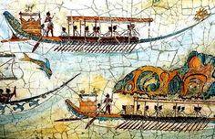 Akrotiri - Island of Santorini - Fresco of minoan fleet Century BC. The original was in the shrine room of the West House, or Admiral's house, that I used as Leira's house in Swallow's Dance. Greek History, Ancient History, Art History, European History, American History, Minoan Art, Bronze Age Civilization, Mycenaean, Greek Art