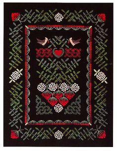 Vuorelma.net - Wall textiles / dark background - TILHIPIHLAJA - WALL TEXTILE Wool Embroidery, Embroidery Motifs, Dark Backgrounds, Rug Hooking, Textile Art, Folk Art, Weaving, Textiles, Tapestry