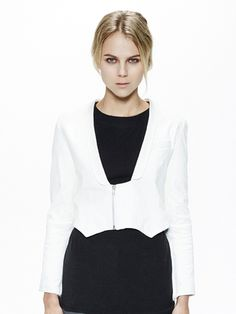 Cropped Lamb Leather Jacket . via The Cools