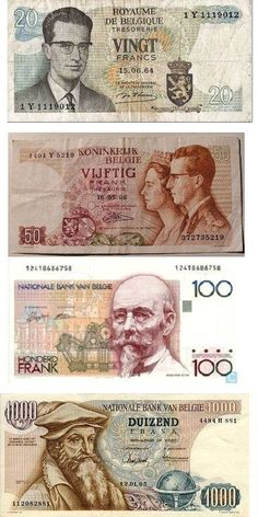 Old Belgian money before the euro came.