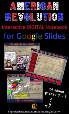 American Revolution Interactive Digital Notebook contains 24 slides for use with Google Slides.  Covers most events, people and places of the Revolutionary War.  Slides are paired with ELA CCSS.  Includes slide with 15 HYPERLINKS for research and information gathering.  Come check it out in my store!