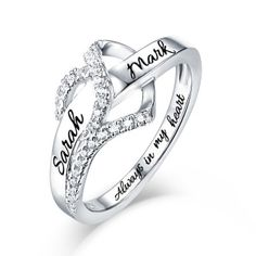03863f9eeb Customized Heart CZ Ring Sterling Silver. Personalized Double ...