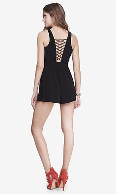 67504084247b black lace up back romper Party Dresses For Women