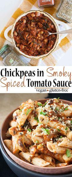 Chickpeas in Smoky Spiced Tomato Sauce   www.veggiesdontbite.com   #vegan #plantbased #glutenfree #ThursdayMoments #PaidAd @simplyorganicfoods via @veggiesdontbite