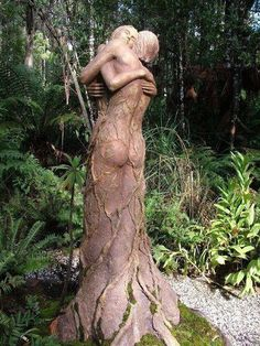 Lovers' Embrace, carved out of a tree stump.
