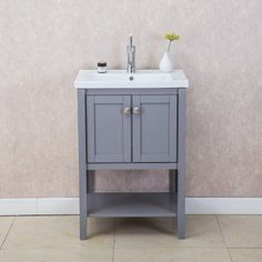 Gallery For Website Give your bathroom a quick update with this stylish white vanity With one door one drawers and slim styling this vanity from Glenwood is both mo u