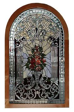 Antique Arched Stained, Beveled And Rippled Glass  Window In A Beautiful Vase Design - American  c.19th Century   -   Antiquarian Traders
