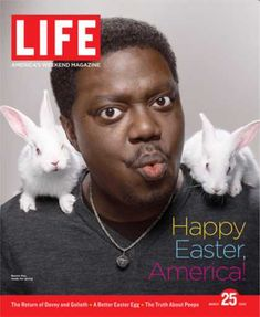 size: Photographic Print: Happy Easter, Comic Actor Bernie Mac with White Rabbits on Shoulders, March 2005 by Karina Taira : Artists Bernie Mac, Life Cover, White Rabbits, Black Actors, O Donnell, Life Magazine, Three Kids, Man Humor, Funny People