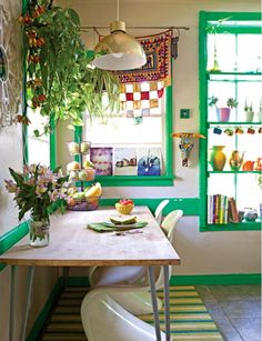 This is a picture of Justina Blakely's kitchen. She calls her home a Jungalow. I just love the idea of a Jungalow. Deco Cool, Cottages And Bungalows, Deco Retro, Deco Boheme, Boho Kitchen, Whimsical Kitchen, Kitchen Corner, Kitchen Modern, Decoration Inspiration