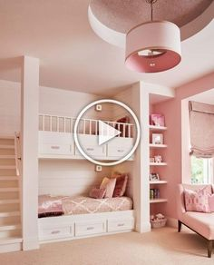 Beautiful Pink Theme Girls Bedroom THewowdecor We welcome you to our latest collection of 25 Unique Bunk Beds Design Ideas. Check out and get ready to see that wonderful smile on your child's face. Cute Bedroom Ideas, Cute Room Decor, Awesome Bedrooms, Cool Rooms, Bed Ideas, Bunk Bed Designs, Girl Bedroom Designs, Design Bedroom, Dream Rooms