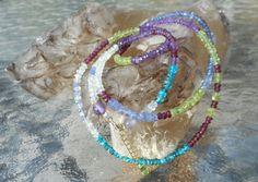 Natural Gemstone 4 Strand Bracelet 2 Strand Choker or Single Strand Necklace with Amethyst, Blue Apatite, Garnet, Aquamarine, Peridot, Iolite and Tanzanite by MaNithyaSudevi