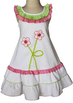 Little girls white applique dress. With green and by CarouselWear