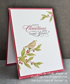 Stampin' Up ideas and supplies from Vicky at Crafting Clare's Paper Moments: A Simply Sketched Christmas Stampin Up Christmas, Christmas Cards To Make, Xmas Cards, Holiday Cards, Stampin Up Weihnachten, Hand Stamped Cards, Bird Cards, Mothers Day Cards, Winter Cards